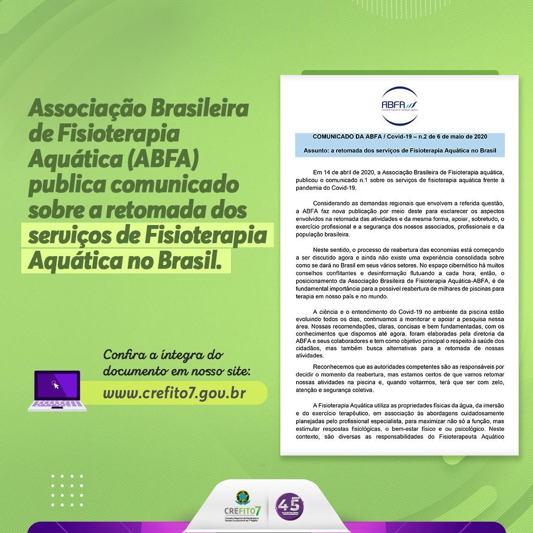 ABFA publica comunicado sobre retomada dos serviços de Fisioterapia Aquática no Brasil