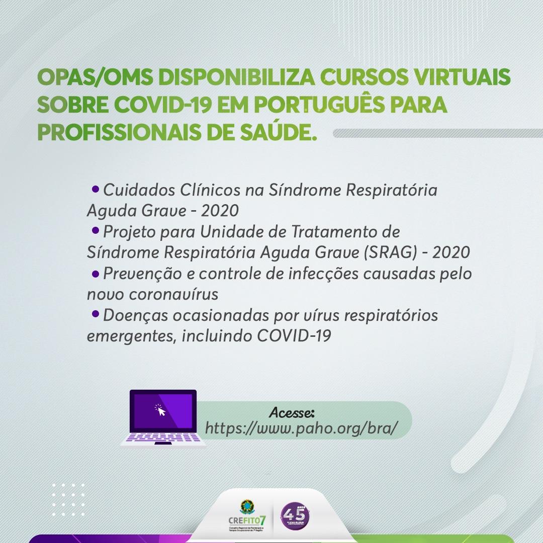 OPAS/OMS disponibiliza cursos virtuais gratuitos para profissionais da Saúde