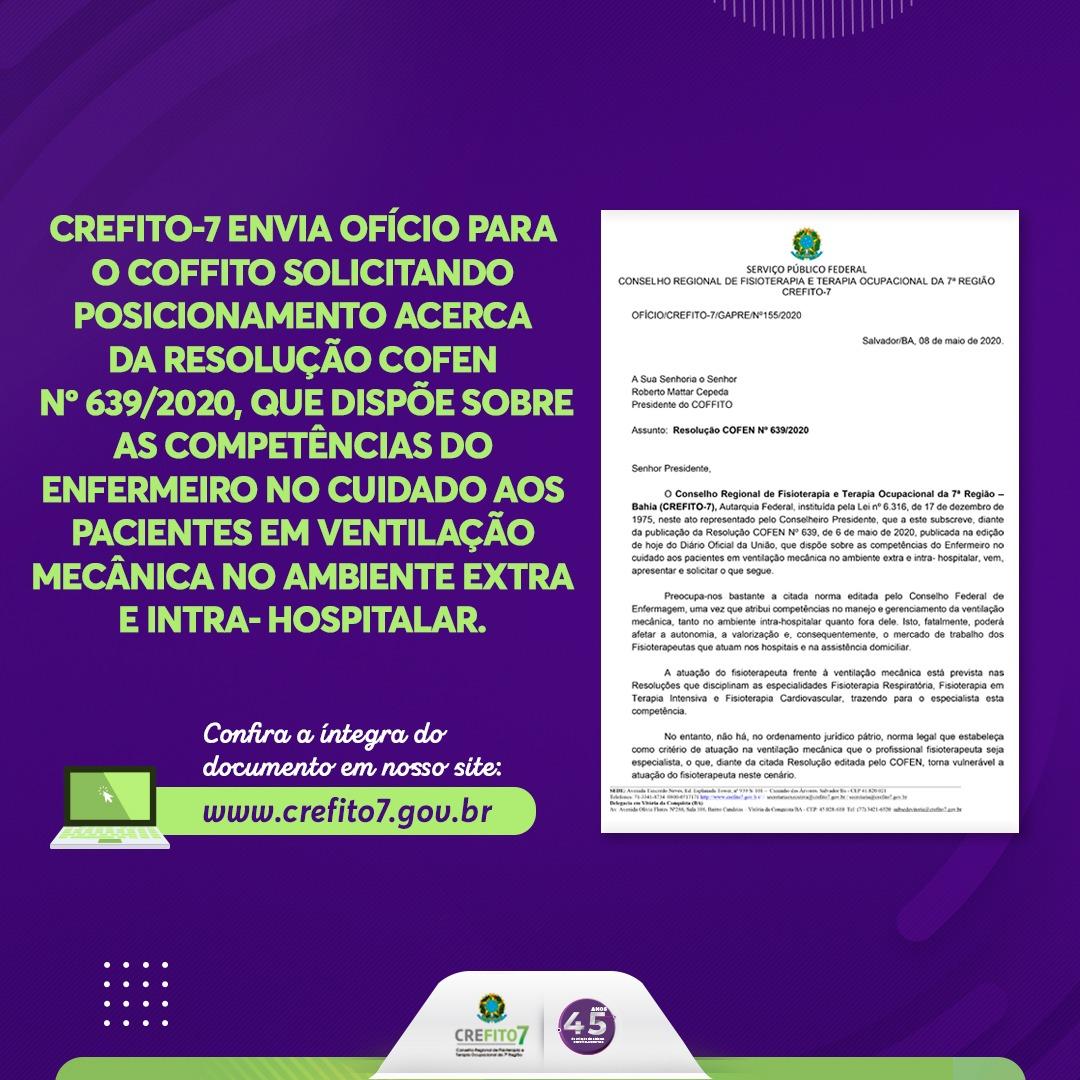 CREFITO-7 solicita posicionamento do COFFITO sobre a Resolução COFEN Nº 639/2020
