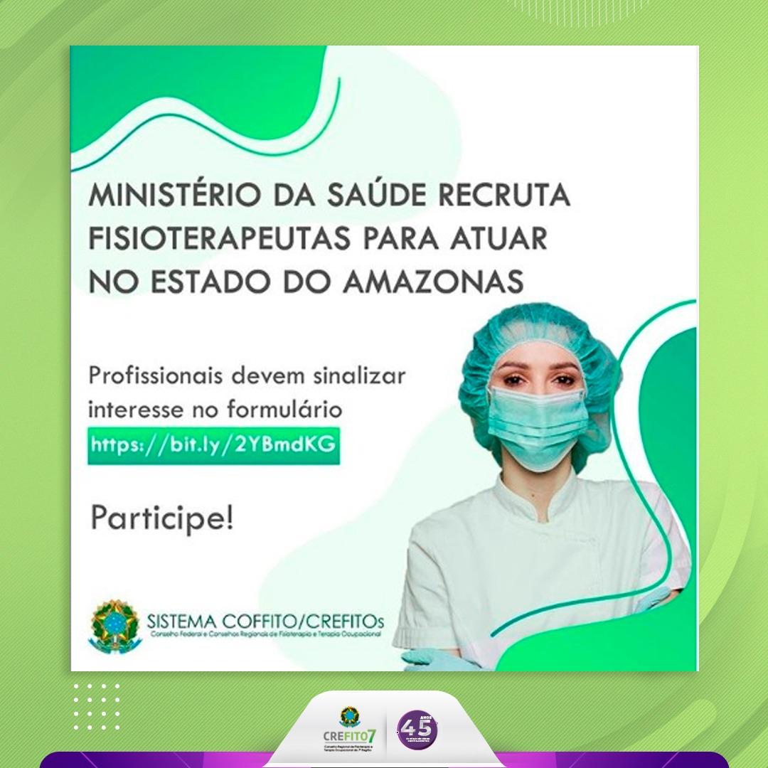 Ministério da Saúde recruta profissionais para atuarem no combate à COVID-19 no estado do Amazonas