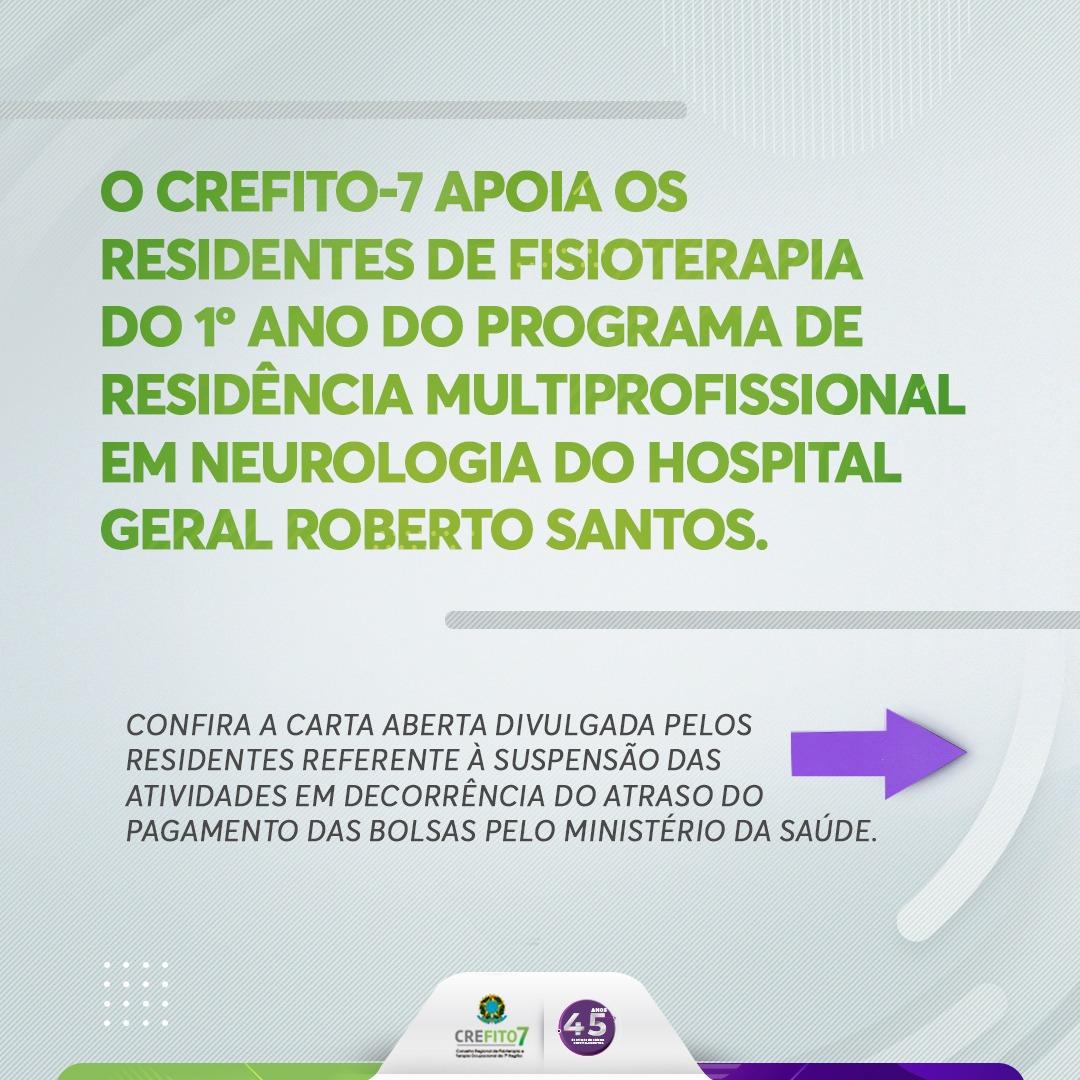 CREFITO-7 manifesta apoio aos residentes de Fisioterapia do HGRS