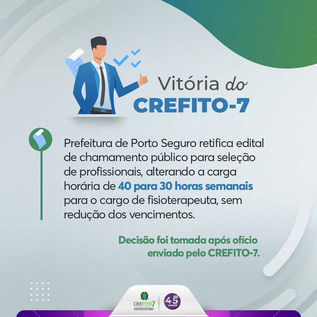 Prefeitura de Porto Seguro retifica edital após ofício enviado pelo CREFITO-7