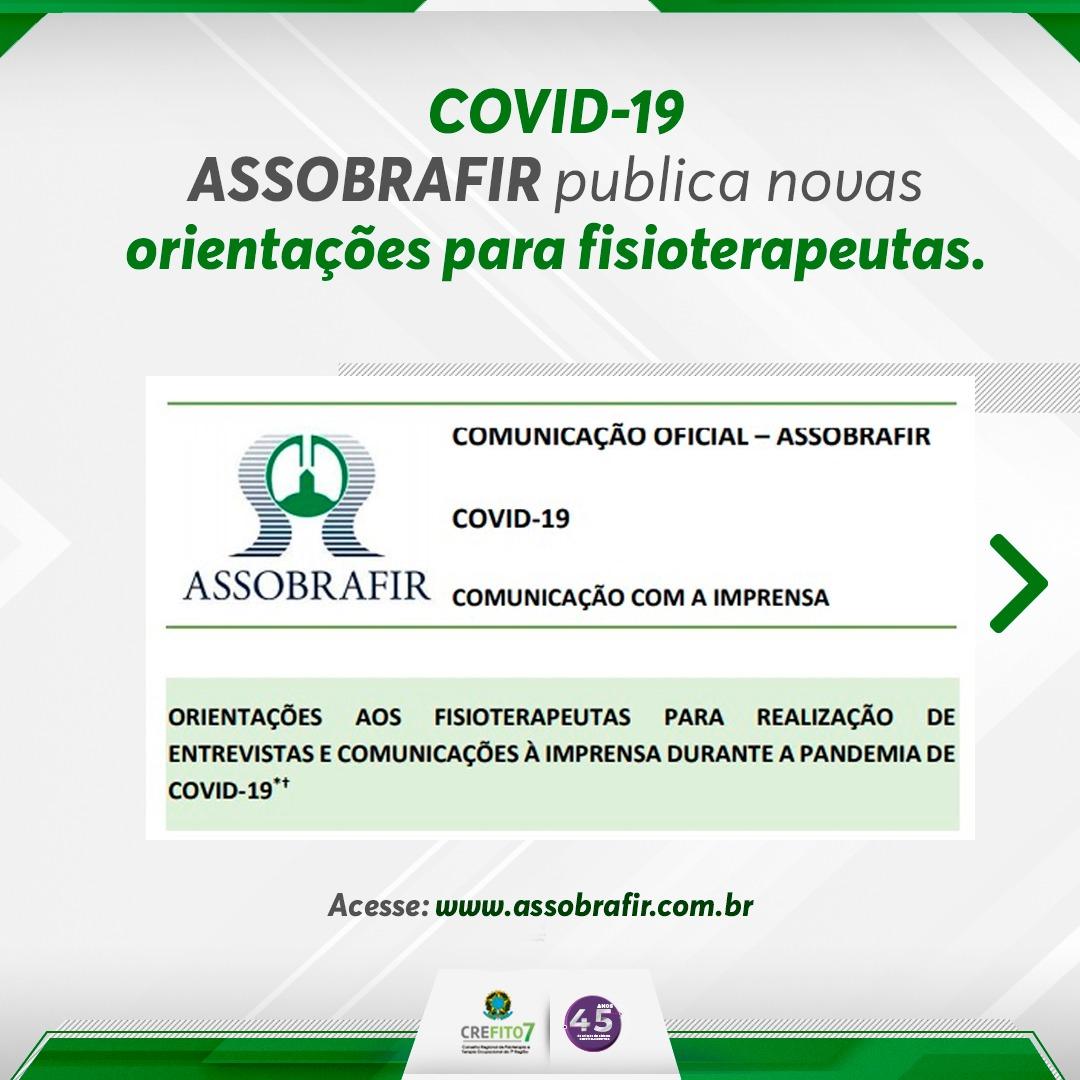 COVID-19. ASSOBRAFIR publica novas orientações para fisioterapeutas