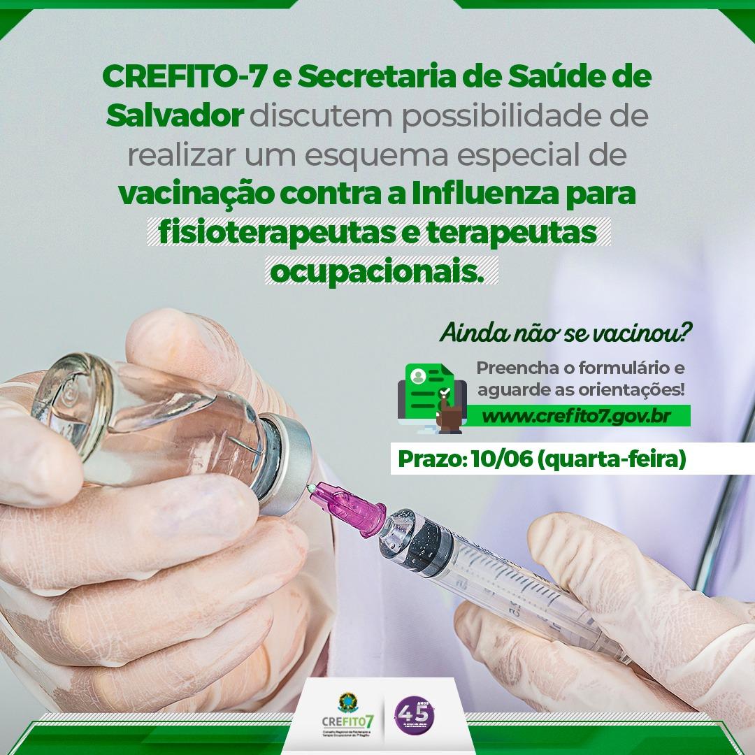 Campanha de vacinação para fisioterapeutas e terapeutas ocupacionais