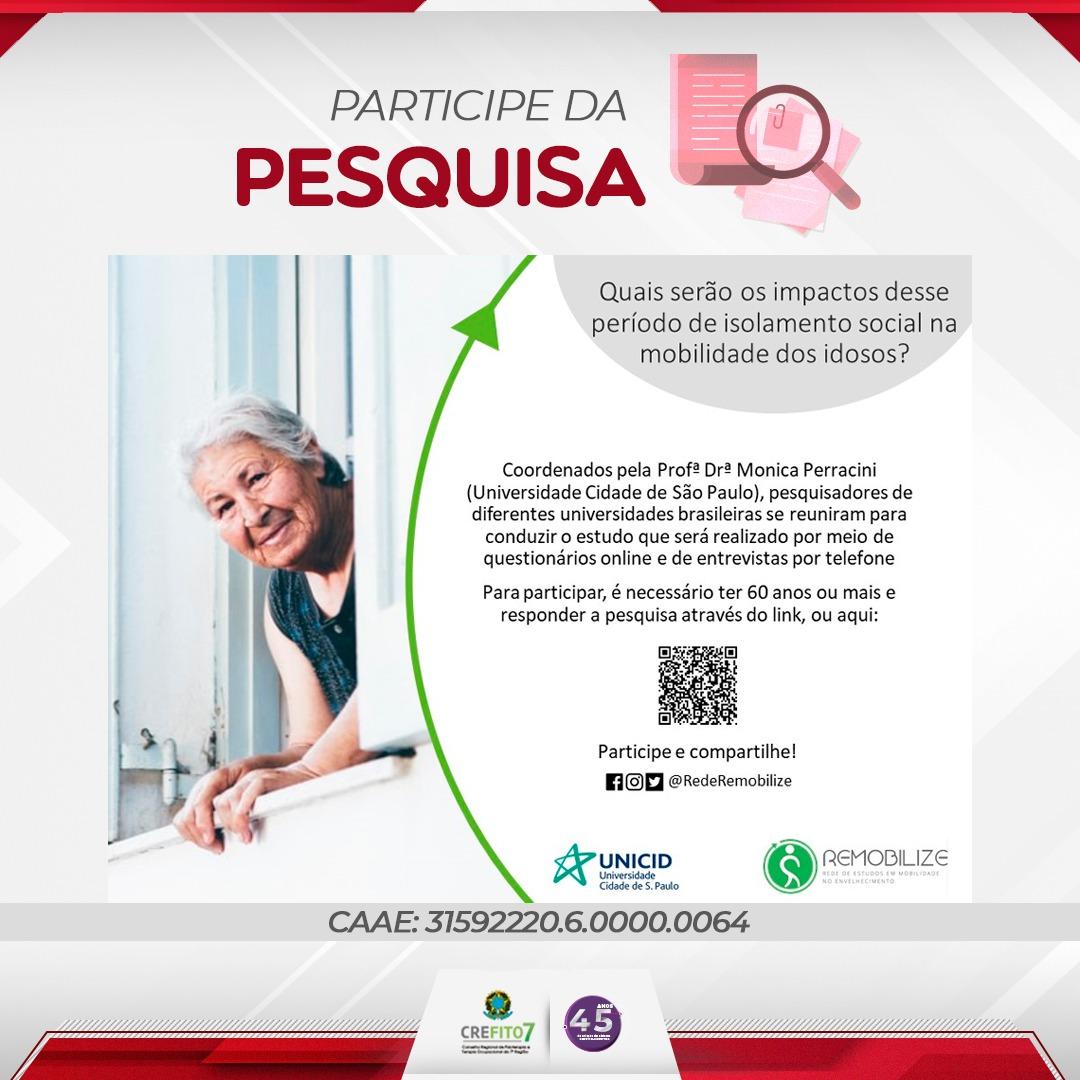 Pesquisa: Impacto da pandemia por Coronavírus sobre a mobilidade de pessoas idosas que vivem na comunidade