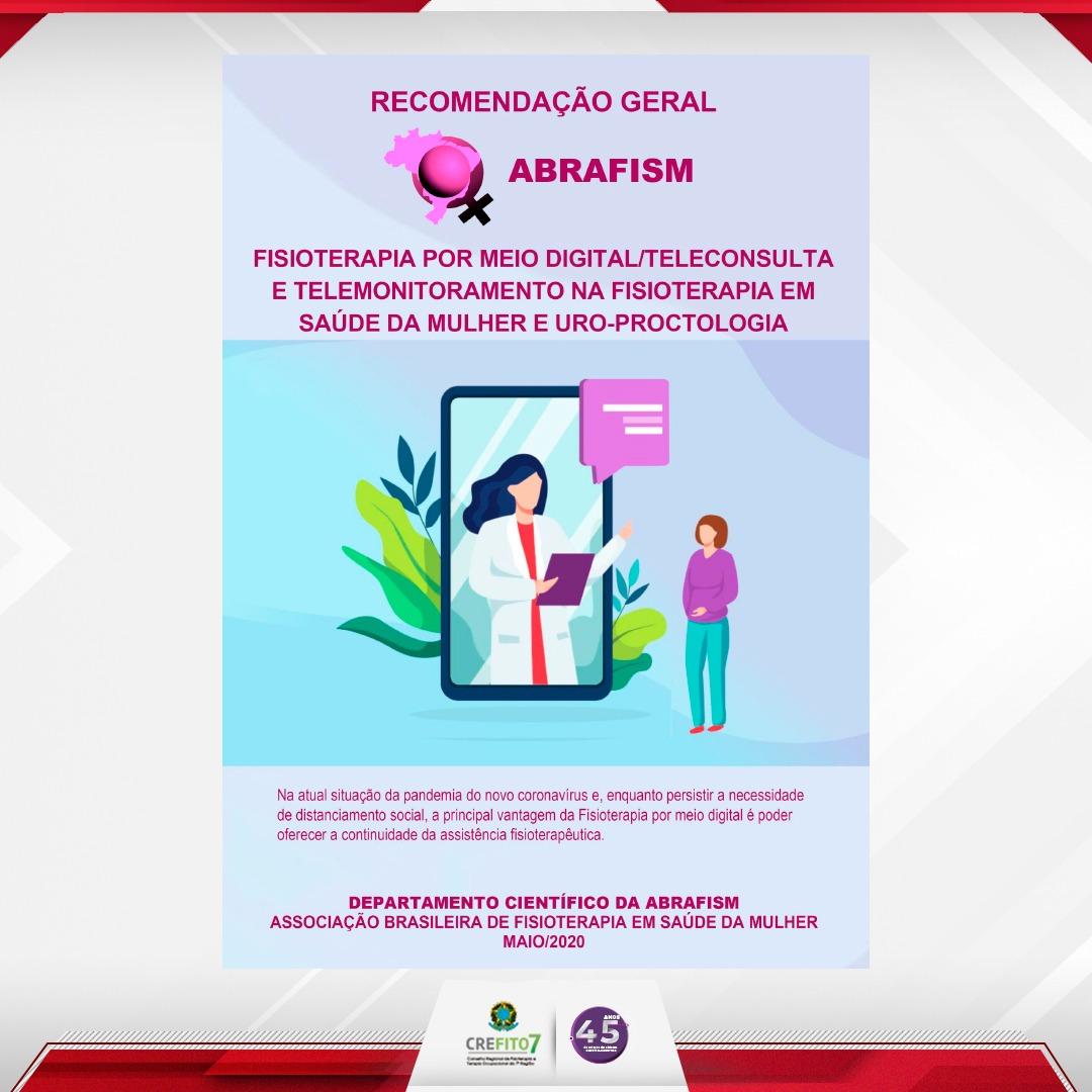 ABRAFISM publica recomendações sobre Fisioterapia por meio digital/teleconsulta e telemonitoramento