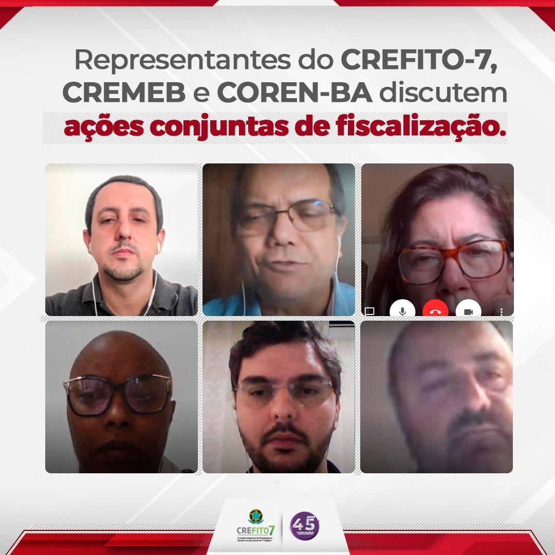 Representantes do CREFITO-7, CREMEB e COREN-BA discutem ações conjuntas de fiscalização