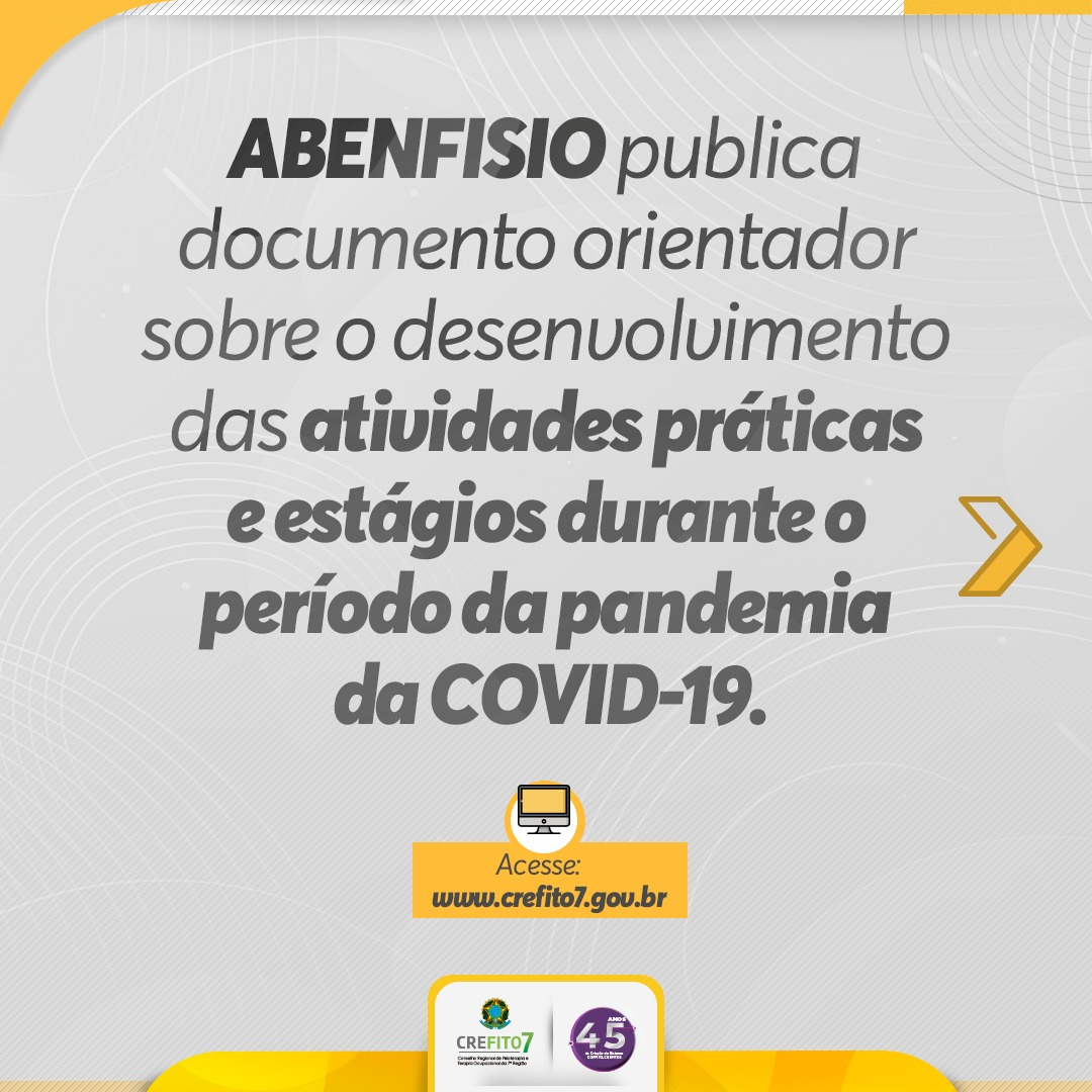 ABENFISIO publica documento orientador sobre o desenvolvimento das atividades práticas e estágios durante a pandemia