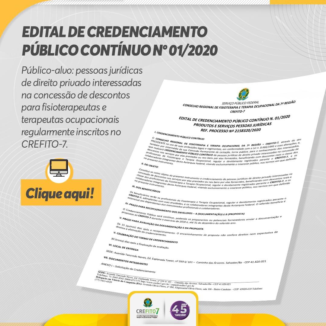 Edital de Credenciamento Público Contínuo nº 01/2020