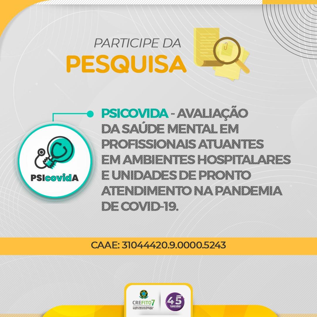 Pesquisa:  Avaliação da saúde mental em profissionais atuantes em ambientes hospitalares e Unidades de Pronto Atendimento na pandemia de COVID-19