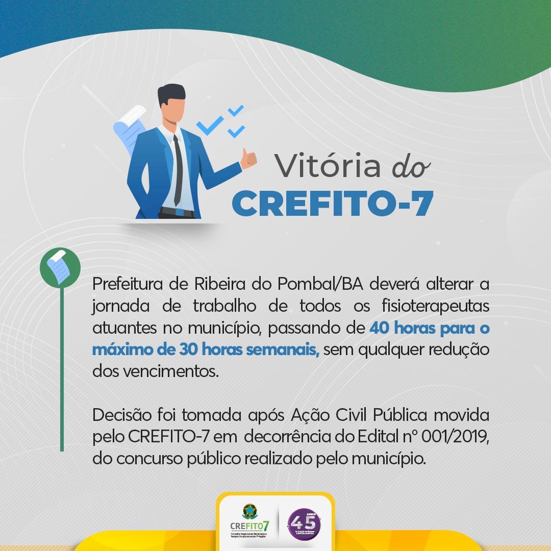 Após Ação Civil Pública movida pelo CREFITO-7, Prefeitura de Ribeira do Pombal deverá alterar carga horária dos fisoterapeutas