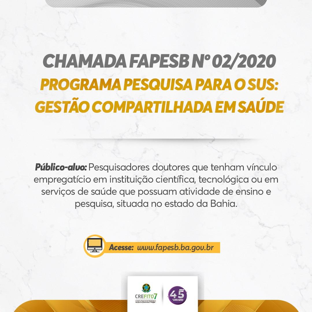 FAPESB - Chamada Pública nº 02/2020