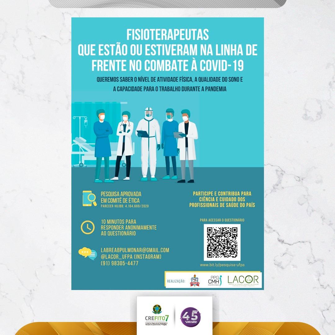 """Participe da Pesquisa: """"Nível de atividade física, qualidade do sono e capacidade para o trabalho de profissionais de saúde atuantes na linha de frente no combate à pandemia de COVID-19"""""""