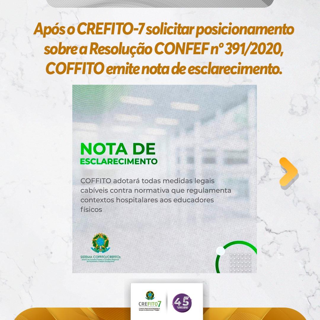 CREFITO-7 solicita posicionamento do COFFITO sobre a Resolução CONFEF nº 391/2020