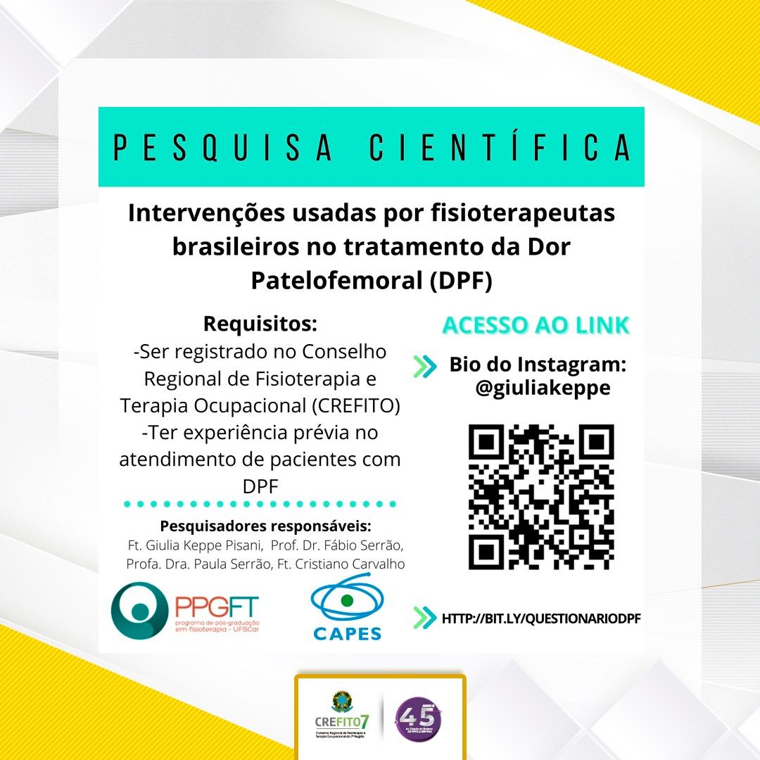 """Pesquisa: """"Identificação das intervenções usadas por fisioterapeutas brasileiros no tratamento da dor patelofemoral"""""""