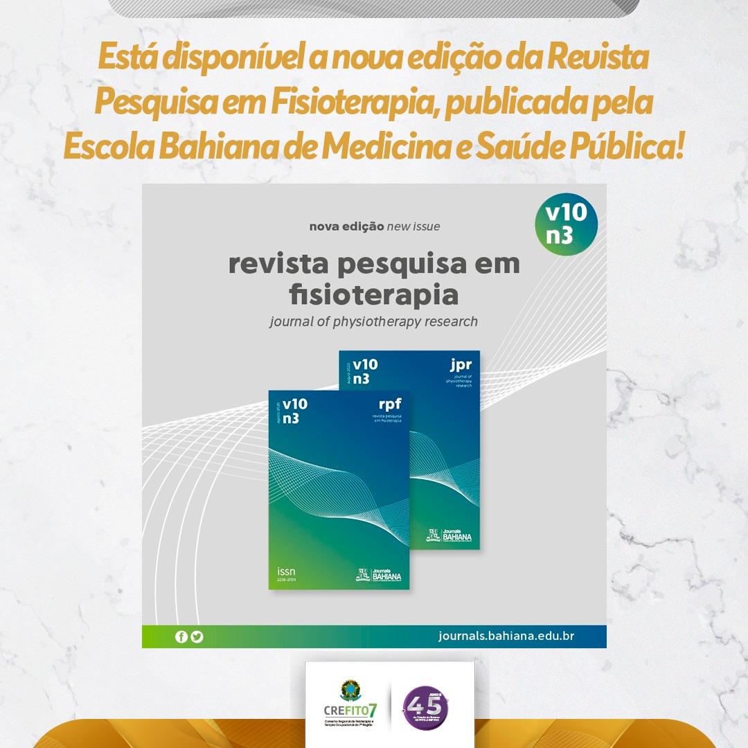 Lançada a nova edição da Revista Pesquisa em Fisioterapia!