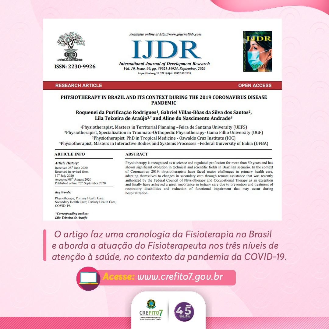 Fisioterapeutas brasileiros publicam artigo na Revista International Journal of Development Research