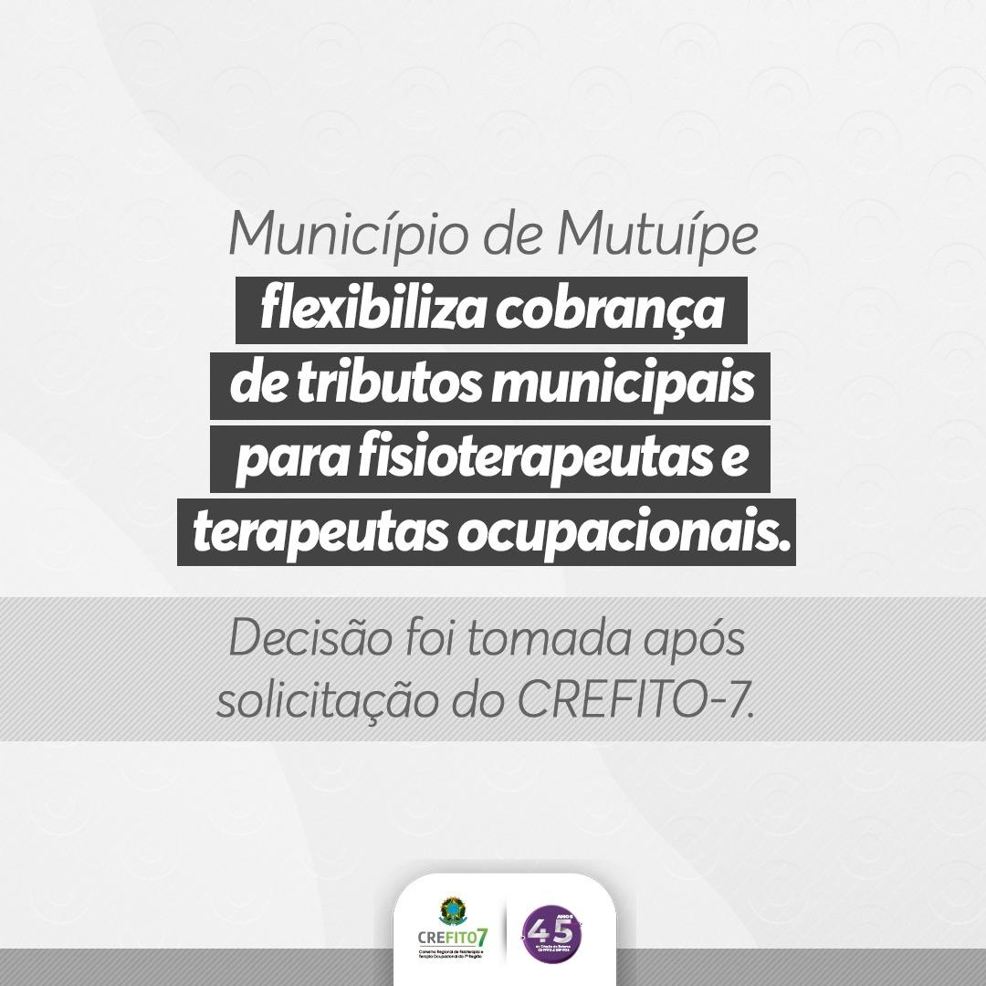 Município de Mutuípe flexibiliza cobrança de tributos para fisioterapeutas e terapeutas ocupacionais