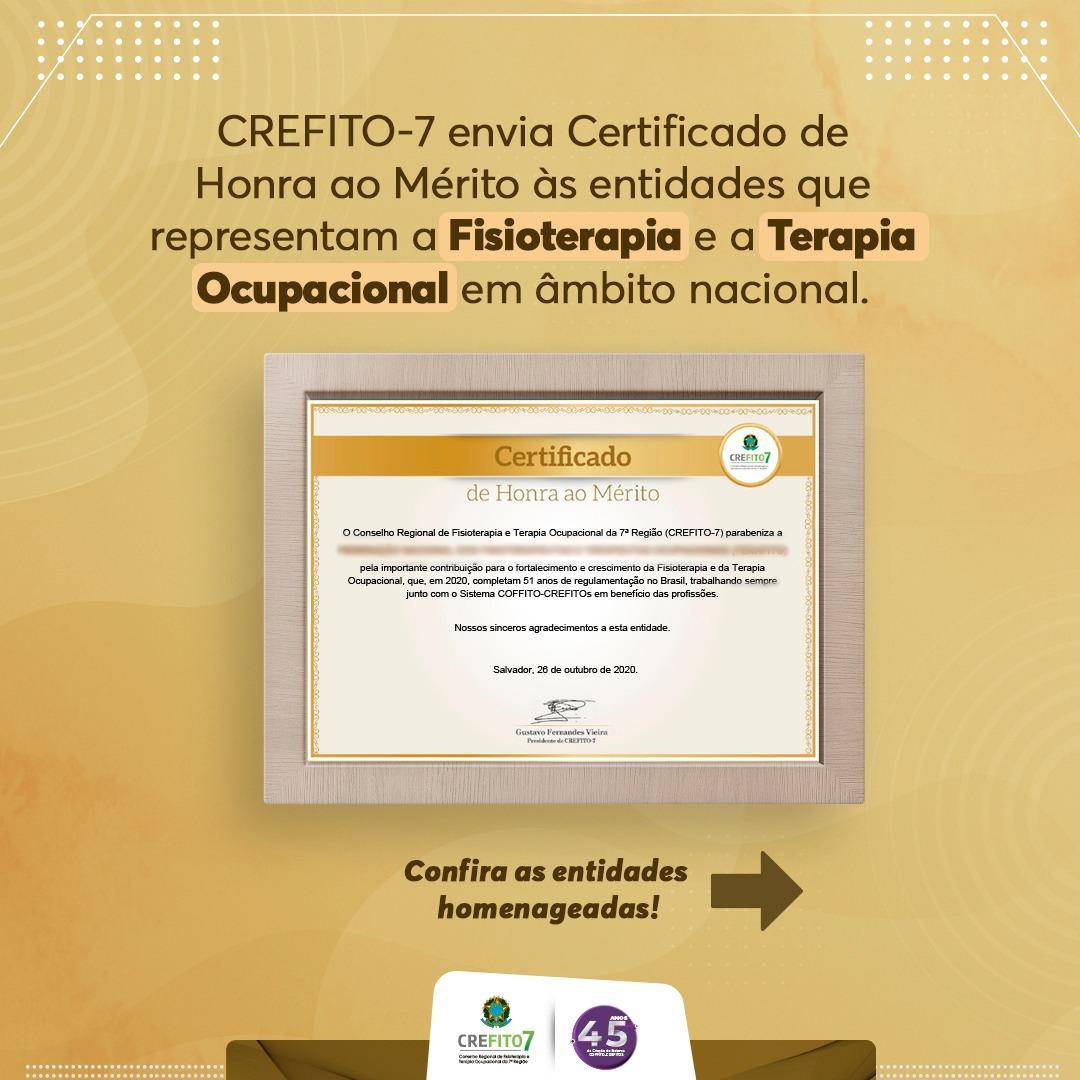 CREFITO-7 envia Certificado de Honra ao Mérito às entidades que representam as profissões