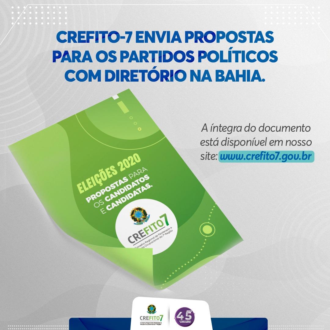 CREFITO-7 envia propostas para os partidos políticos com Diretório na Bahia