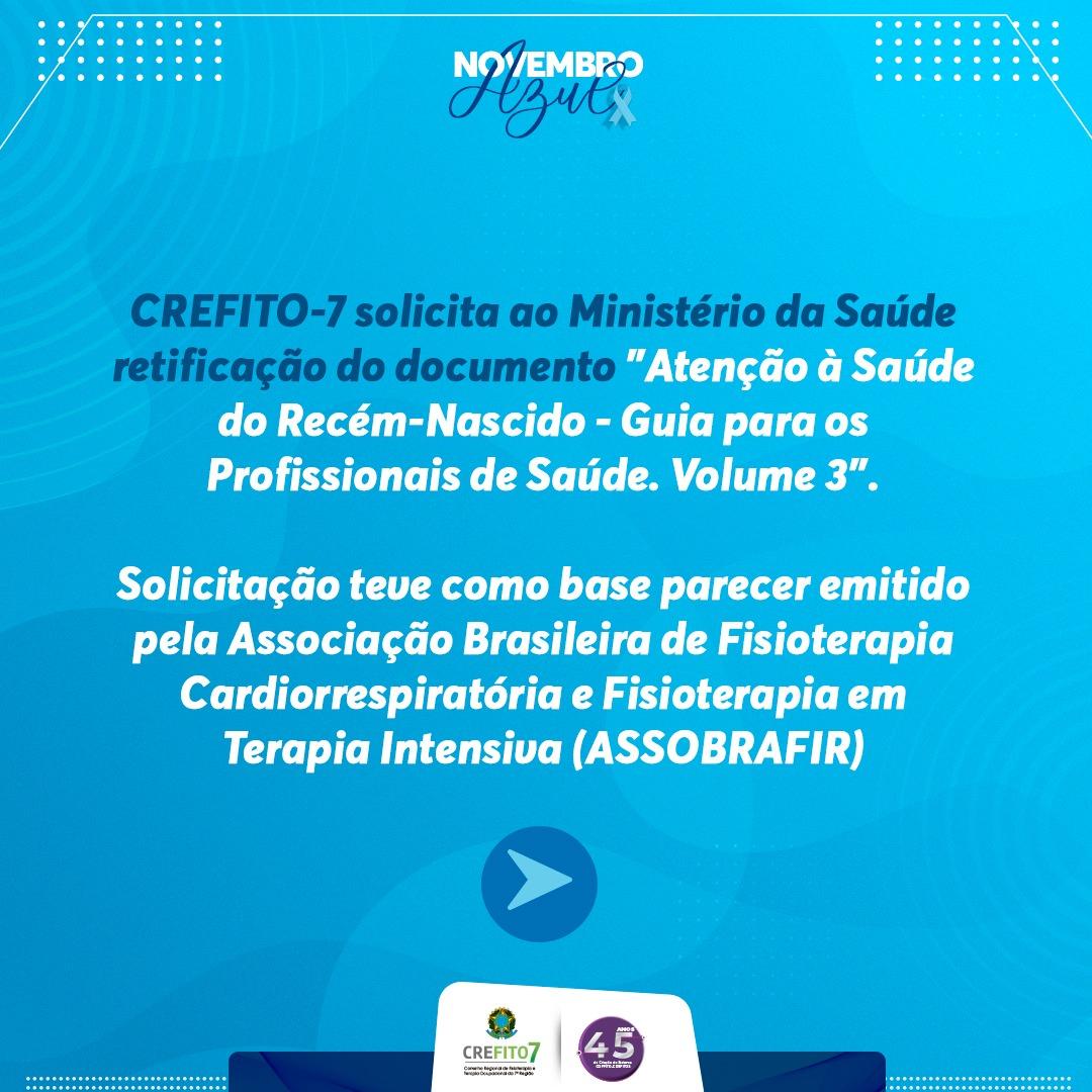 """CREFITO-7 solicita ao Ministério da Saúde retificação do documento """"Atenção à Saúde do Recém-Nascido"""""""