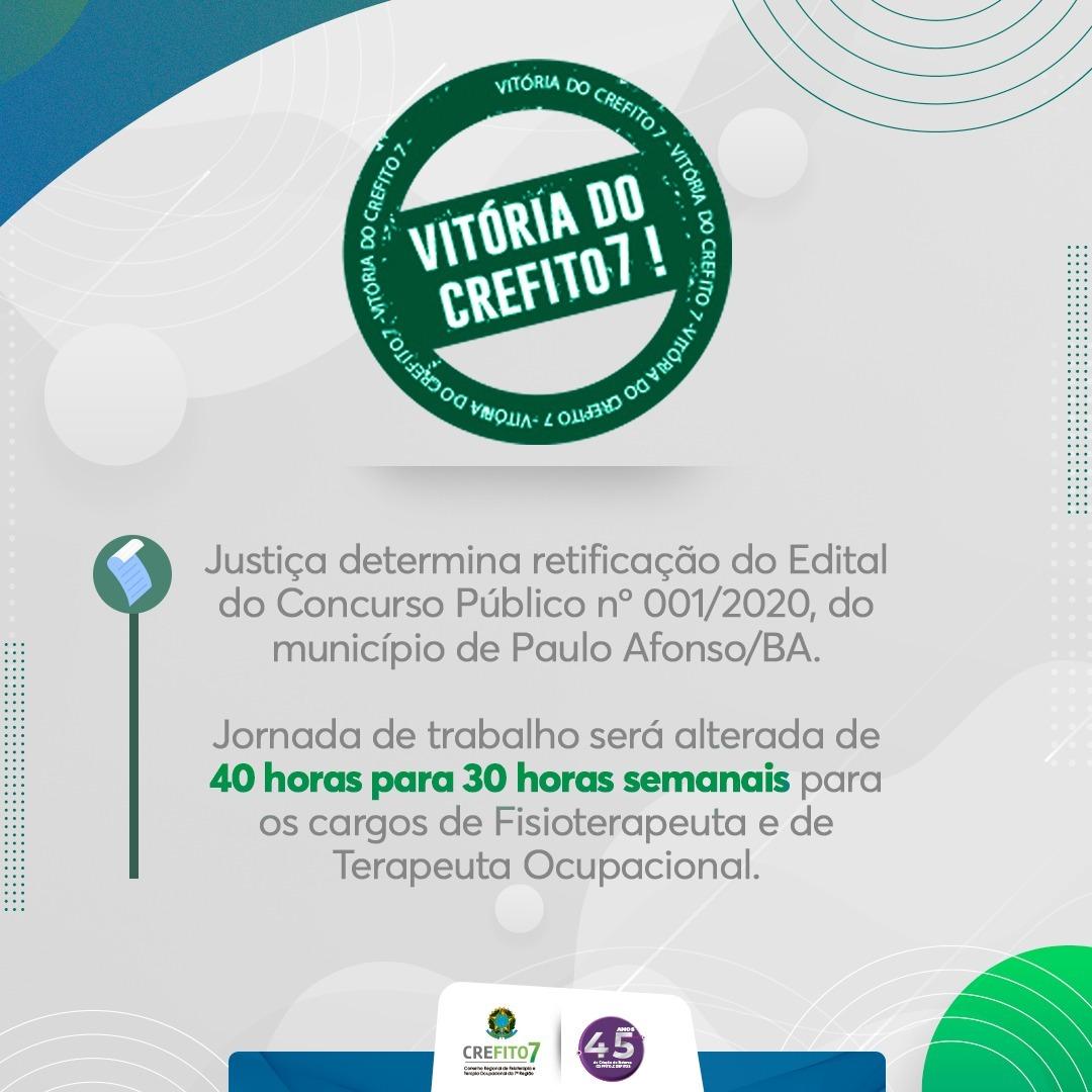 Após Mandado de Segurança impetrado pelo CREFITO-7, Justiça determina retificação do edital do Concurso Público nº 001/2020, do município de Paulo Afonso.