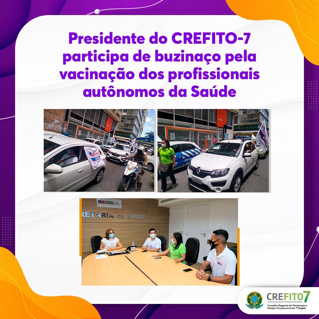 Presidente do CREFITO-7 participa de buzinaço pela vacinação