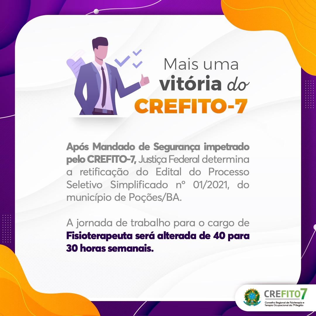 Mais uma vitória do CREFITO-7!