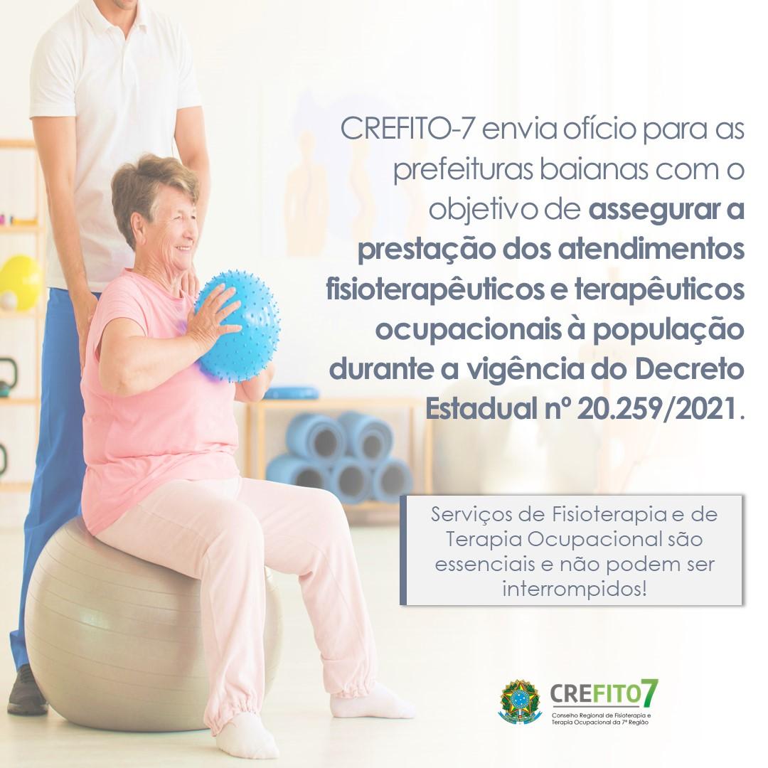 CREFITO-7 envia ofício para as prefeituras baianas para assegurar a prestação dos serviços de Fisioterapia e de Terapia Ocupacional à população