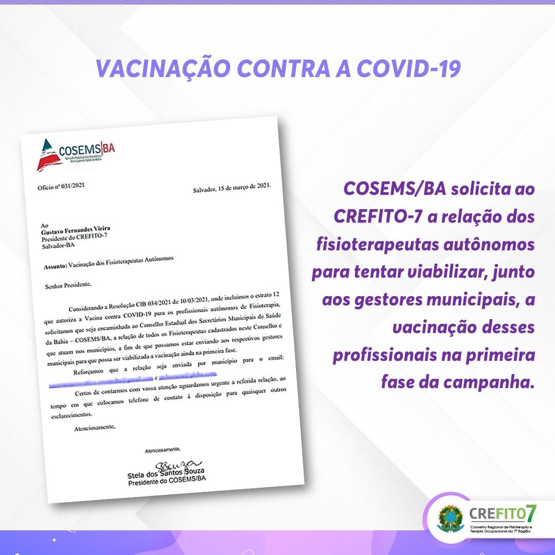 COSEMS/BA solicita ao CREFITO-7 lista dos fisioterapeutas para tentar viabilizar vacinação na primeira fase da campanha
