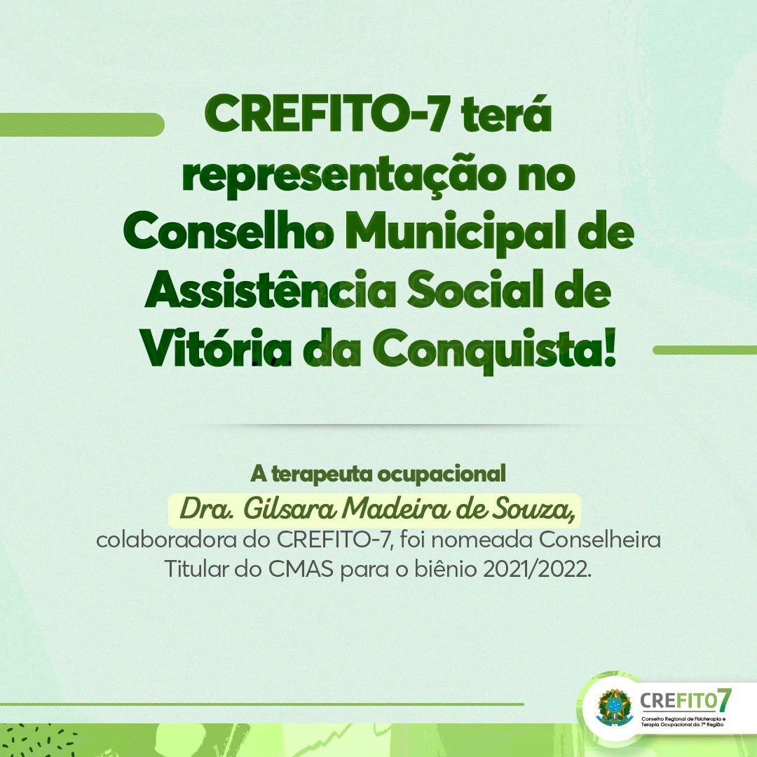 CREFITO-7 terá representação no CMAS de Vitória da Conquista!
