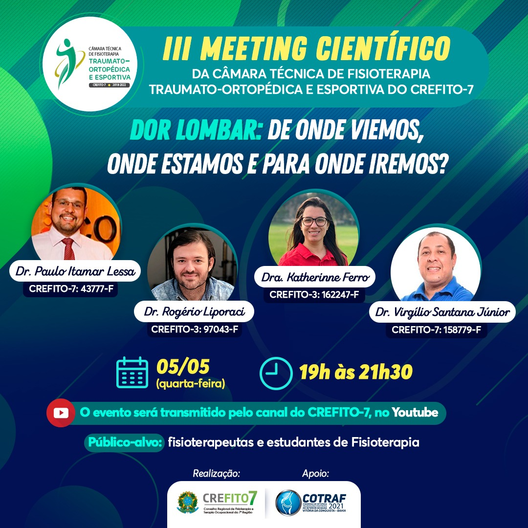 III Meeting Científico da Câmara Técnica de Fisioterapia Traumato-Ortopédica e Esportiva do CREFITO-7