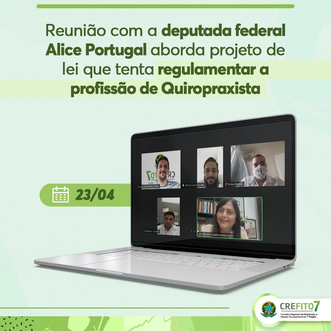 Reunião com a deputada federal Alice Portugal aborda projeto de lei que tenta regulamentar a profissão de Quiropraxista