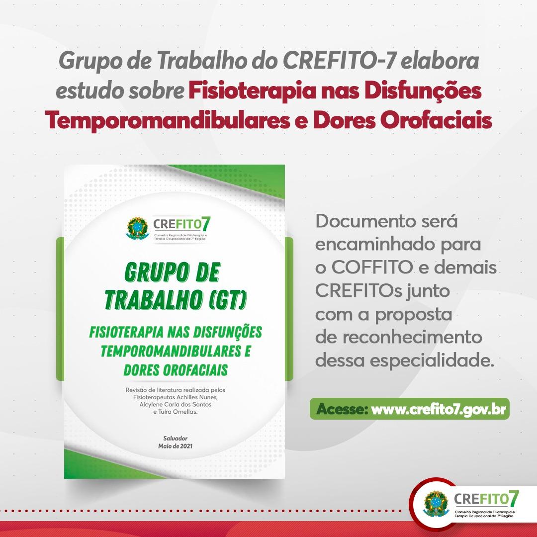 Grupo de Trabalho do CREFITO-7 elabora estudo sobre Fisioterapia nas Disfunções Temporomandibulares e Dores Orofaciais