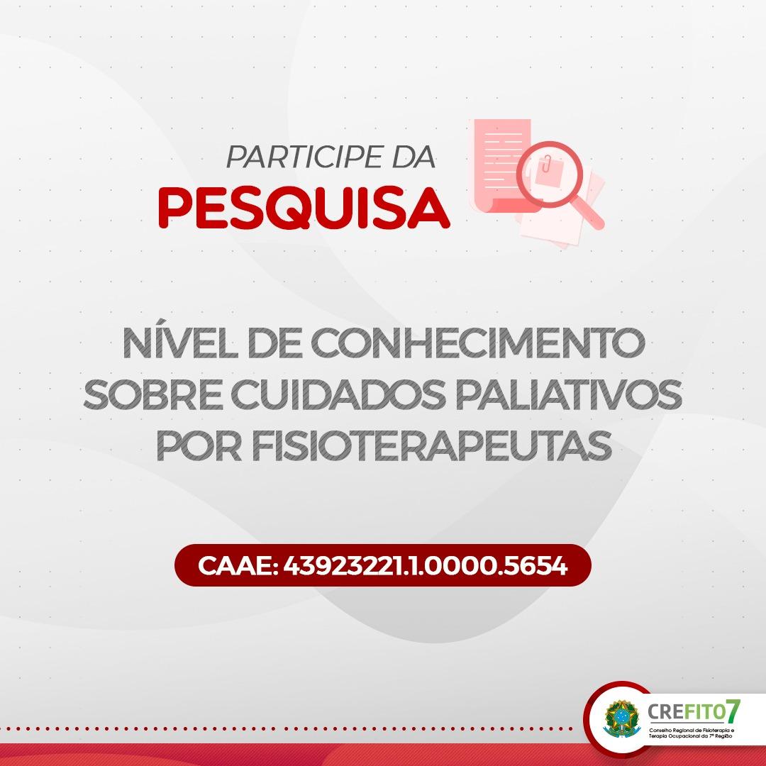 Participe da Pesquisa: Nível de Conhecimento sobre Cuidados Paliativos por Fisioterapeutas