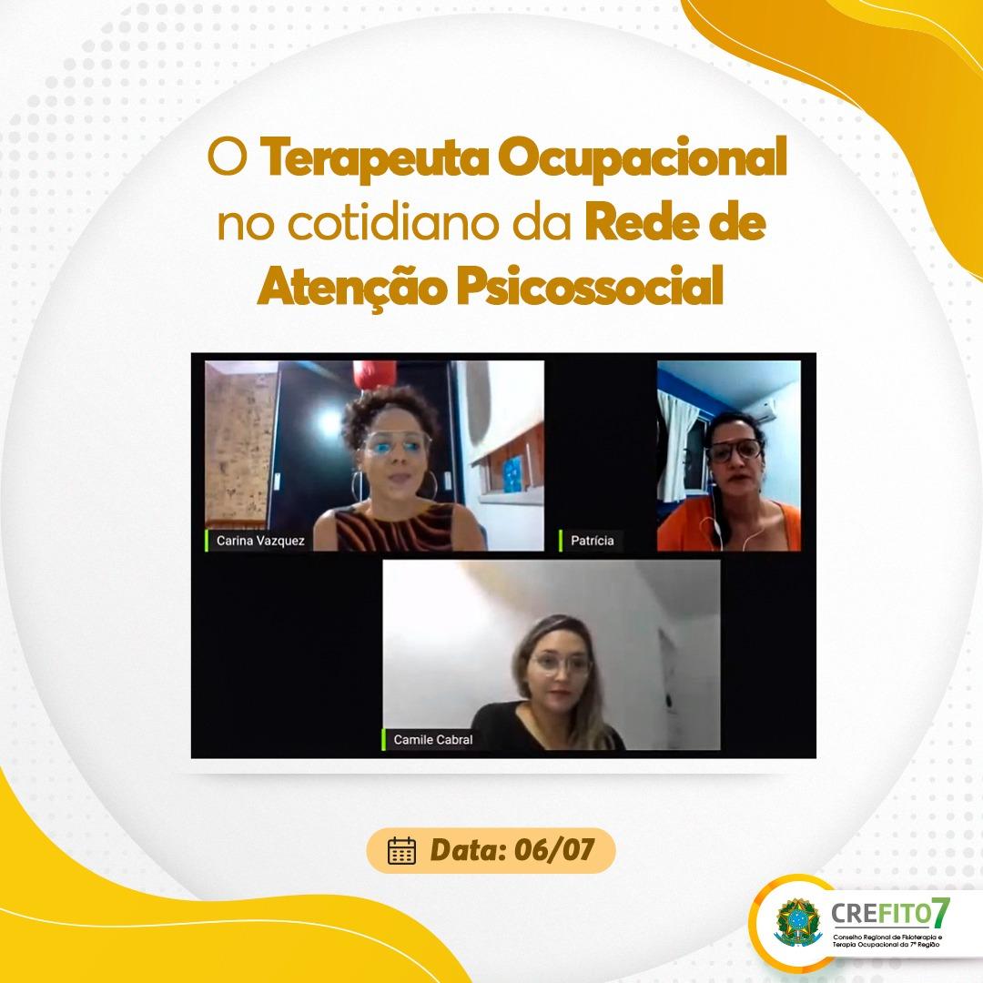 Câmara Técnica de Saúde Mental realiza live sobre o Terapeuta Ocupacional no cotidiano da Rede de Atenção Psicossocial