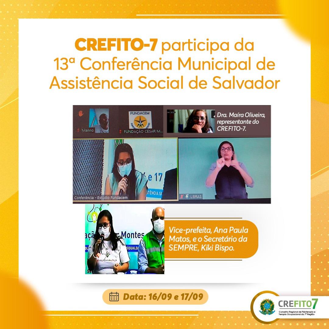 CREFITO-7 participa da 13ª Conferência Municipal de Assistência Social de Salvador
