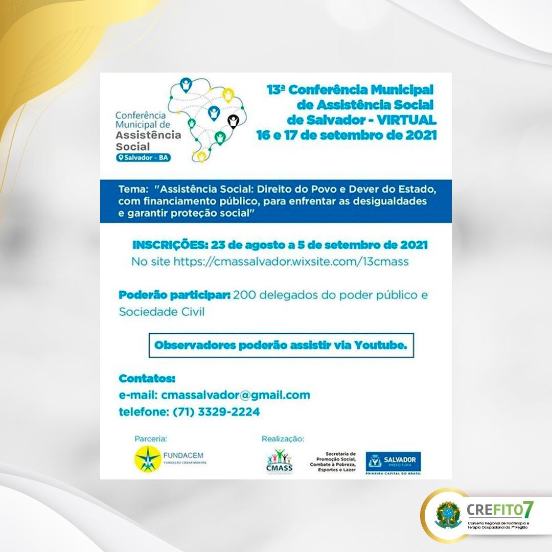 Read more about the article 13ª Conferência Municipal de Assistência Social de Salvador