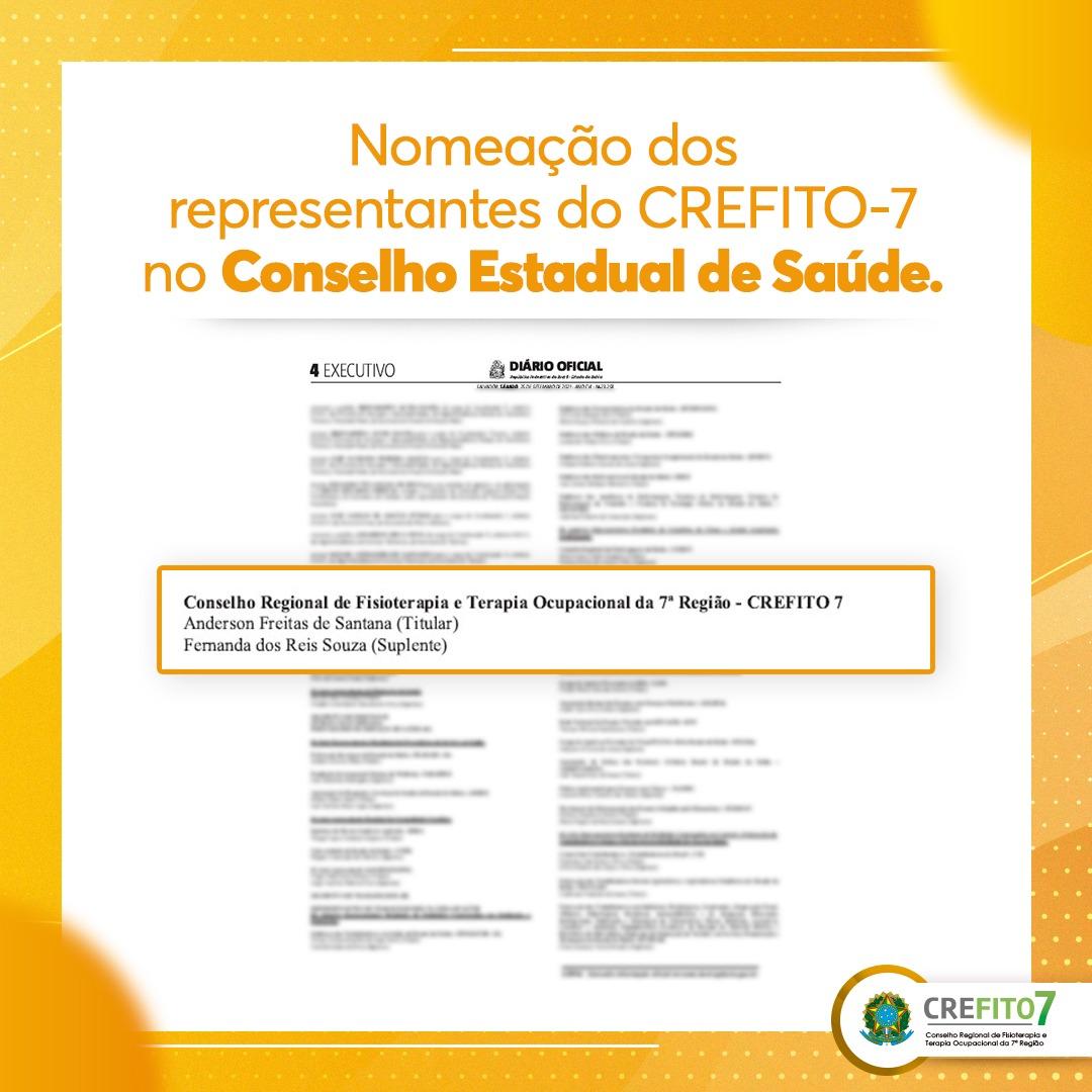Nomeação dos representantes do CREFITO-7 no Conselho Estadual de Saúde