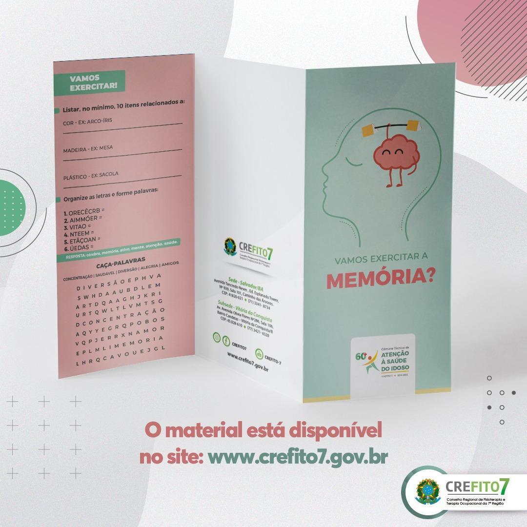 Read more about the article Vamos exercitar a memória? Confira o folder elaborado pela Câmara Técnica de Atenção à Saúde do Idoso!