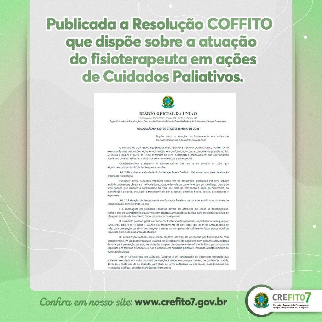 Publicada a Resolução COFFITO que dispõe sobre a atuação do fisioterapeuta em ações de Cuidados Paliativos